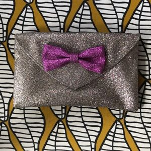 Miss Albright Anthropologie Glitter Clutch Bow